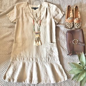 Dress with Drop Waist in Khaki Colored Linen.